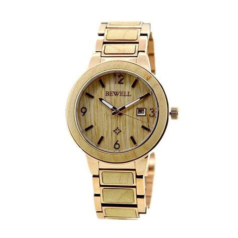 Stainless Steel Wrist Watch With Light Maple Wood ZSW1073