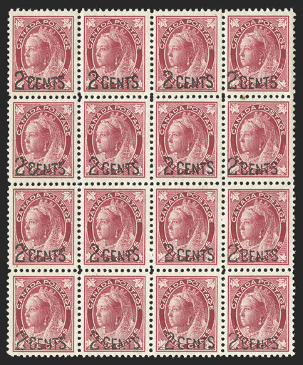 87, 1899 2 Cents surcharge on 3c Carmine Maple Leaf, mint block of sixteen, well centered throughout, including some choice large-margined stamps, bright color, o.g., n.h., very fine-extremely fine (Unitrade C$1,440.00+).