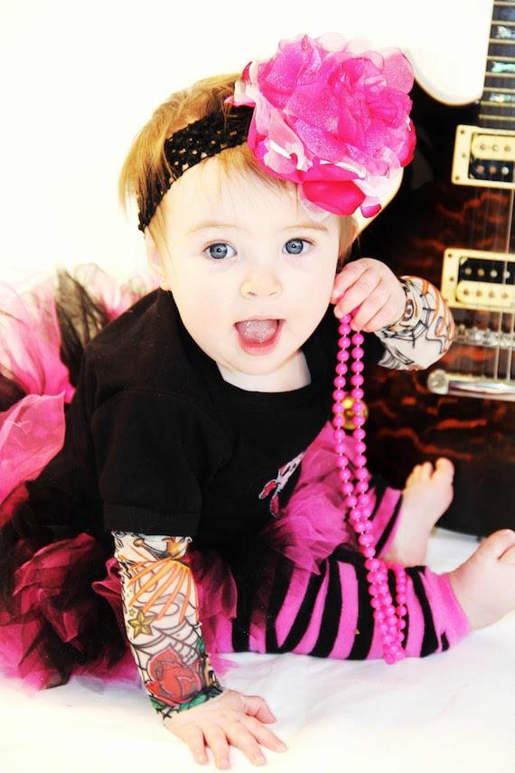 Girls High-Roller tattoo sleeve onesie with Metallic skull applique