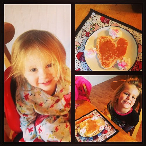 Heart Shaped Valentine Pancakes for my little love bugs!! #valentinesday #heart #pancakes