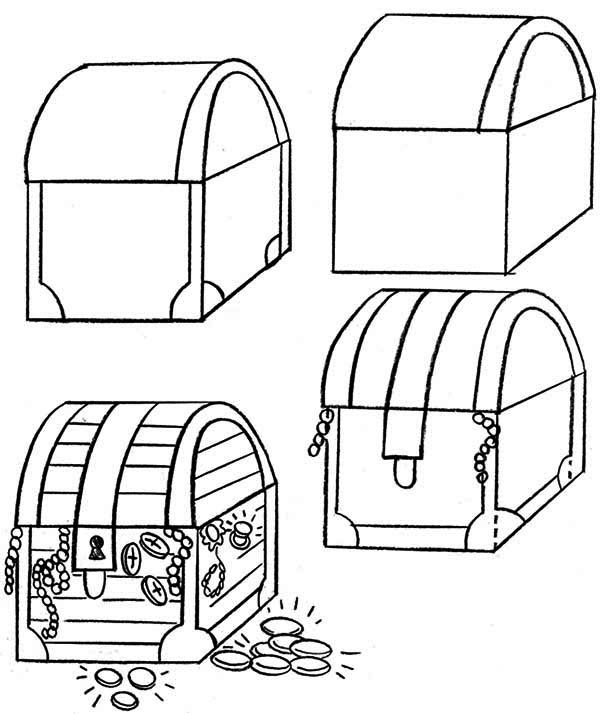 how to draw treasure chests