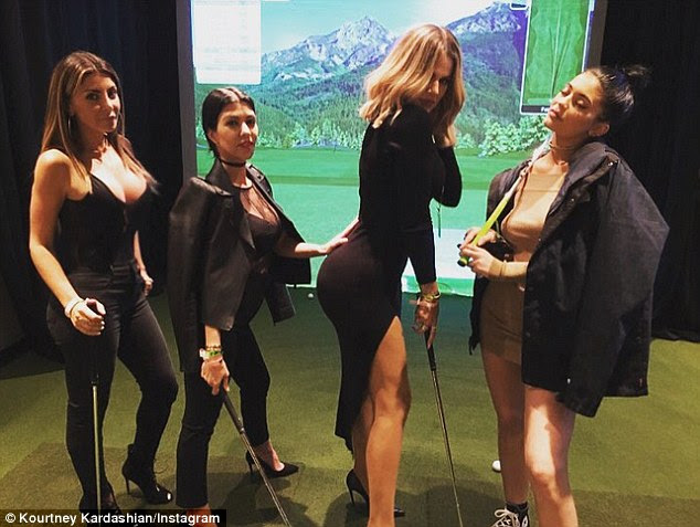 Family outing: Though they weren't pictured together, Kourtney Kardashian (second left) later shared an image with fellow attendees Kylie Jenner (right) and Khloe (centre)