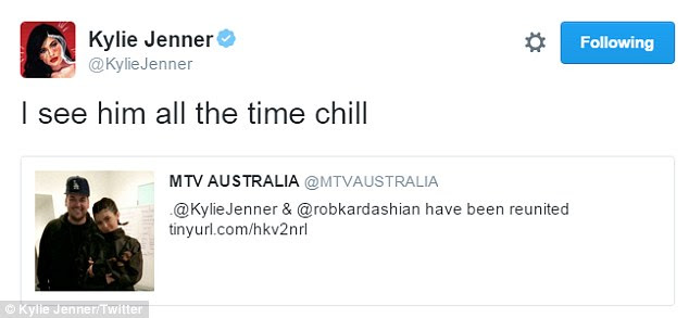 Tweet and chill:While the pair being together seemed unusual, Kylie claimed on twitter it was no big deal