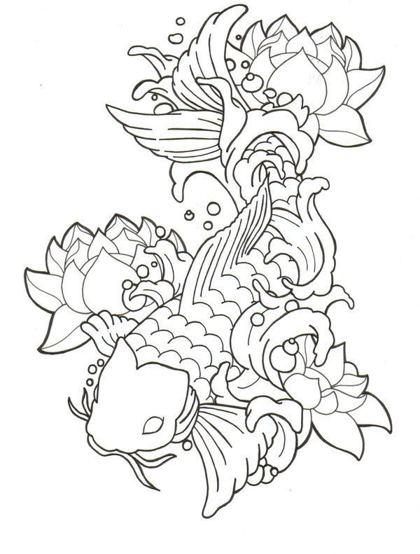 Koi Fish Drawing Outline At Getdrawingscom Free For Personal Use