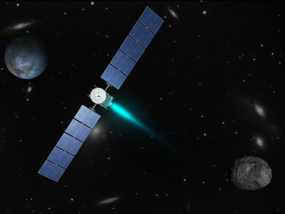 Artist's concept depicting the Dawn spacecraft thrusting with its ion propulsion system as it travels from Vesta (lower right) to Ceres (upper left). The galaxies in the background are part of the Virgo supercluster. Dawn, Vesta and Ceres are currently in the constellation Virgo from the perspective of viewers on Earth. (Image credit: NASA/JPL)