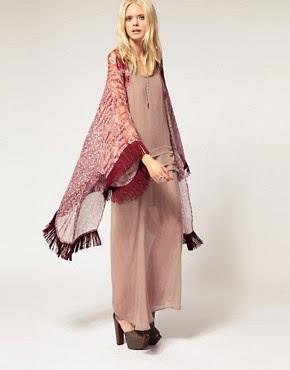 Image 1 ofHermione de Paula Kimono Jacket Long Printed With Tassel Detail