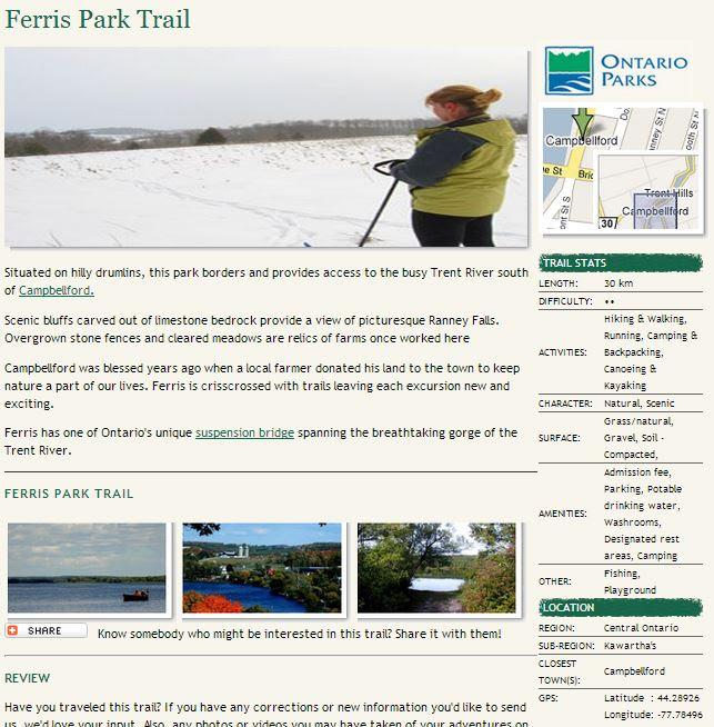 ontario trails ferris provincial park