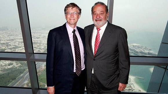 El mexicano Carlos Slim (izq) y el estadounidense Bill Gates, dueños de las dos fortunas más grandes del mundo.