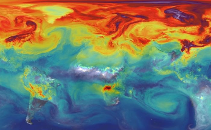 Carbon dioxide in Earth's atmosphere if half of global-warming emissions are not absorbed. Credit: NASA/JPL/GSFC