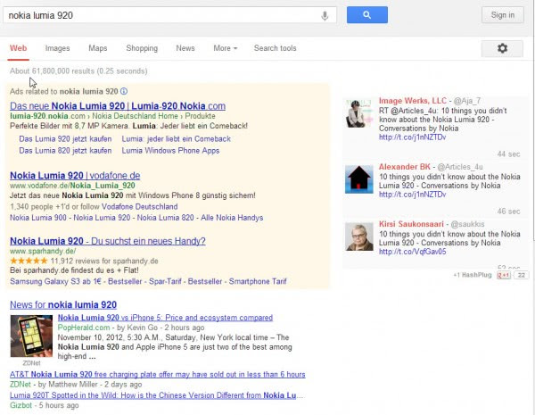twitter results google search
