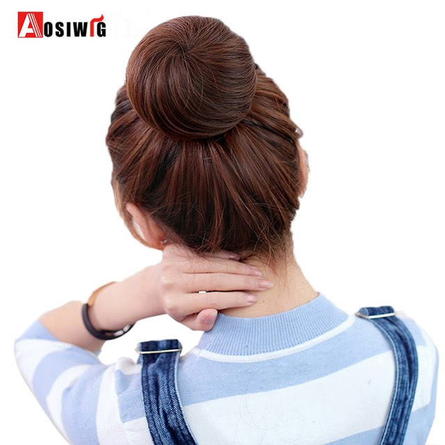 Sale-AOSIWIG Short Straight Hair Bun Heat Resistant Synthetic Hairpieces Synthetic Clip In Hair Extensions Women Hairstyles Best Price