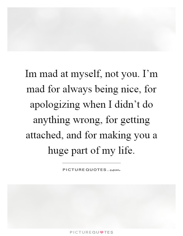 Im Mad At Myself Not You Im Mad For Always Being Nice For