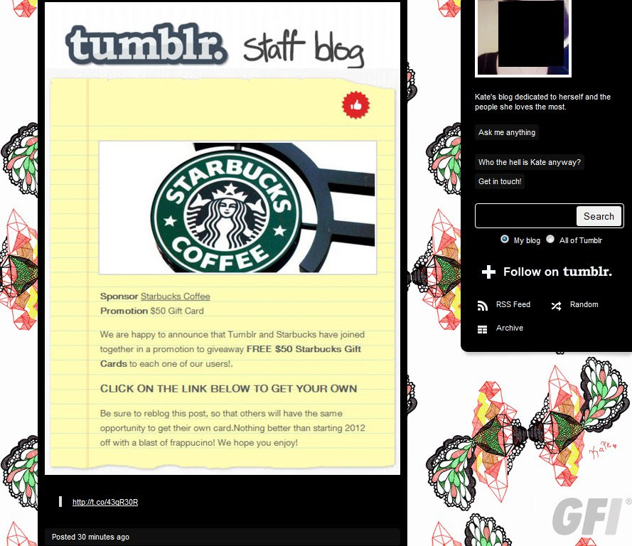 Fake Tumblr Staff Blog Leads To Starbucks Gift Cards Threattrack