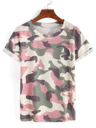 Rolled Sleeve Pink Camouflage T-shirt