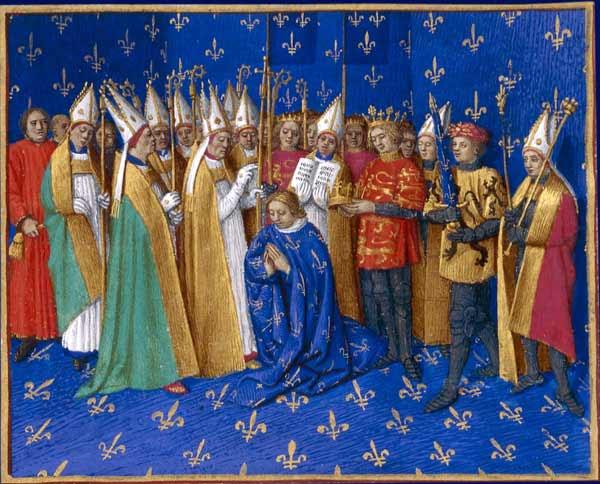 Coroação do rei Filipe Augusto da França. Grandes Chroniques de France. Enluminures par Jean Fouquet. Tours, c.1455-1460