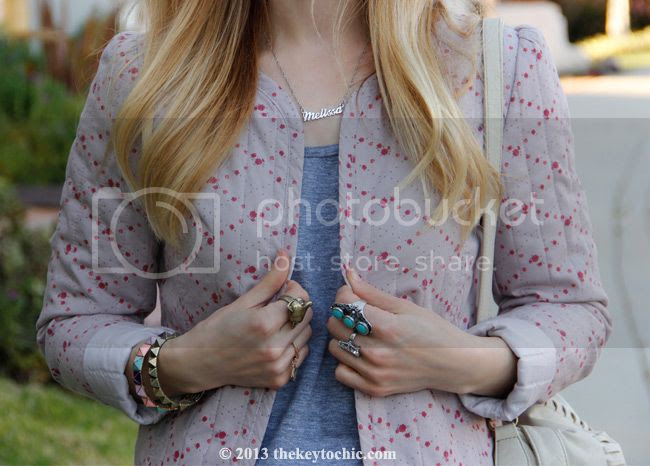 quilted floral jacket, name necklace