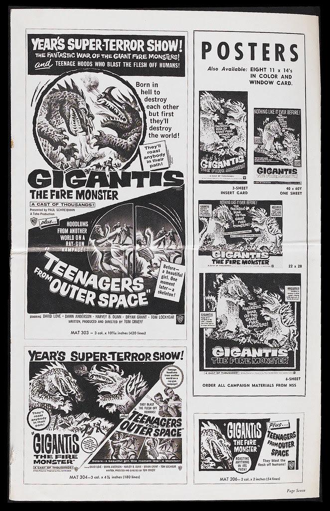 Gigantis the Fire Monster (Warner Brothers, 1959). Pressbook 2