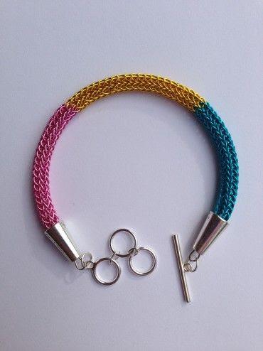 DIY Tutorial Multi Colored Viking Knit Bracelet
