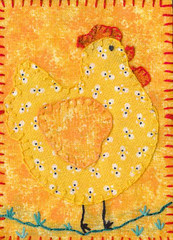 ATC Traded - Embroidered Henny Penny Taking a Stroll