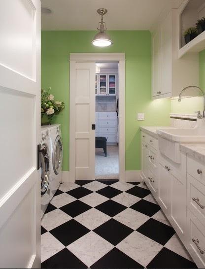 Laundry room black & white flooring ideas
