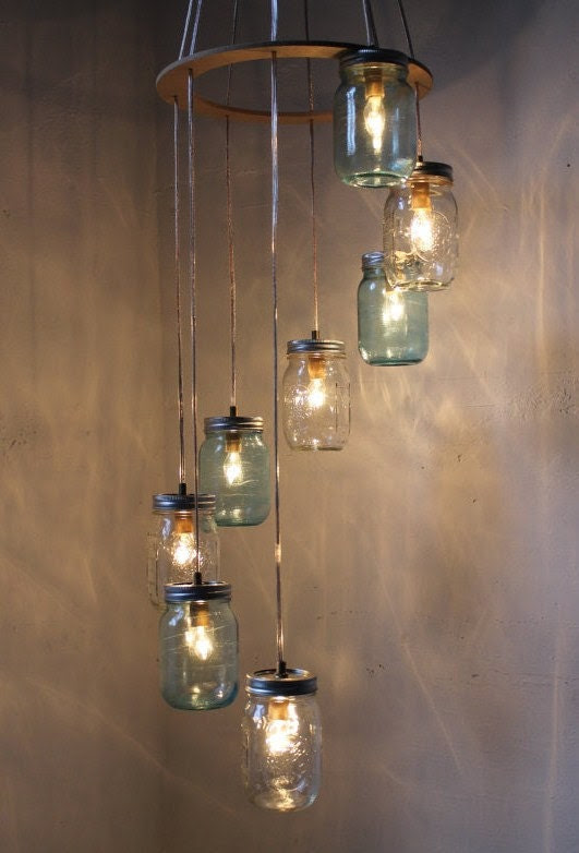 Waterfall Splash Mason Jar Chandelier - Cascading Spiral - Modern Industrial Swag - Handcrafted Upcycled BootsNGus Hanging Lighting Fixture