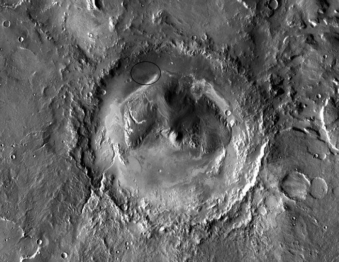 An image of Gale Crater, taken by NASA's Mars Odyssey orbiter, that shows the area (circled in black) where Curiosity will land in August of 2012.