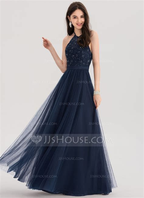 A Line/Princess Halter Floor Length Tulle Prom Dresses