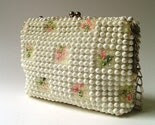 vintage Grandee White Beaded Purse with Embroidered Flowers