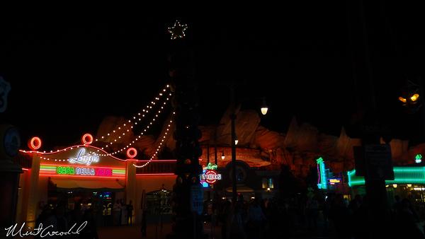 Disneyland Resort, Disney California Adventure, Cars Land, Christmas Time, Luigi's Flying Tires, Christmas, Star