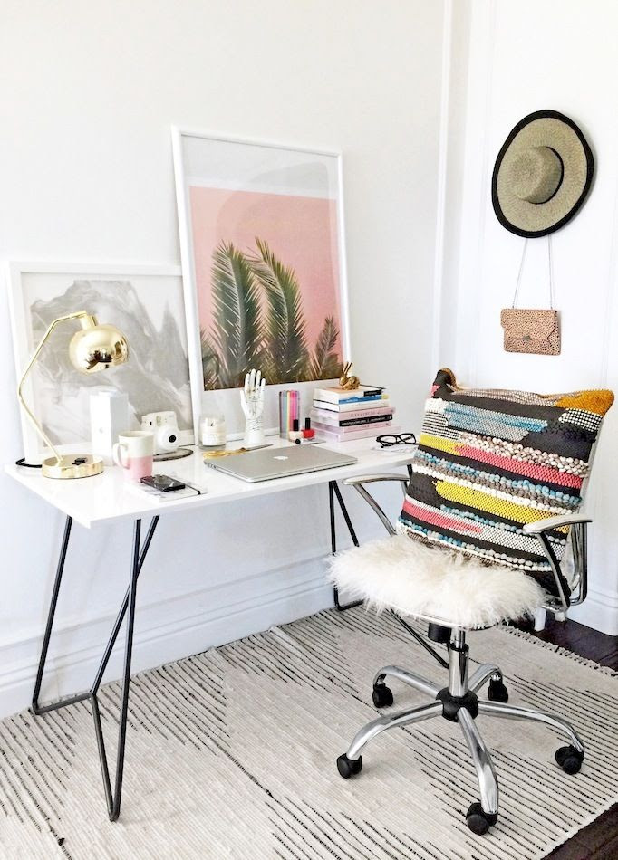 Le Fashion Blog Stylish Whimsical Work Space Urban Outfitters Striped Rug White Chair Modern Desk Palm Print Colorful Pillow Gold Lamp Home Decor photo Le-Fashion-Blog-Stylish-Whimsical-Work-Space-Urban-Outfitters-Striped-Rug-White-Chair-Modern-Desk-Palm-Print-Colorful-Pillow-Gold-Lamp-Home-Decor.jpg