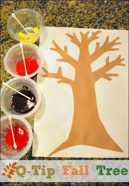 Painting a Q Tip Fall Tree   Mess For Less