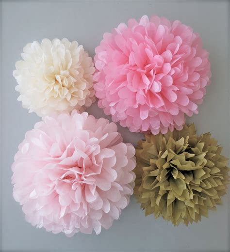 Pink & Gold Tissue Paper Pom Poms 4 Piece by