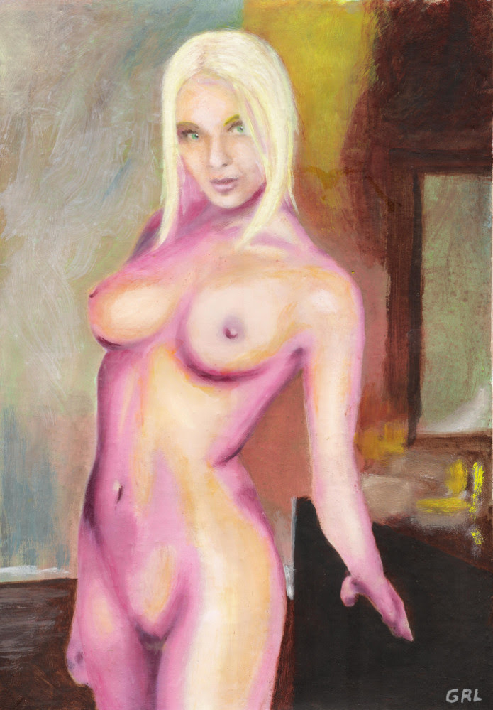 Fine art painting, female nude standing,Tasha, blond,standing, bedroom background,bright colors. - original fine artwork by G.Linsenmayer. Original art paintings and prints, landscapes/seascapes, boats, seaand shore, abstracts, nudes, female nudes...