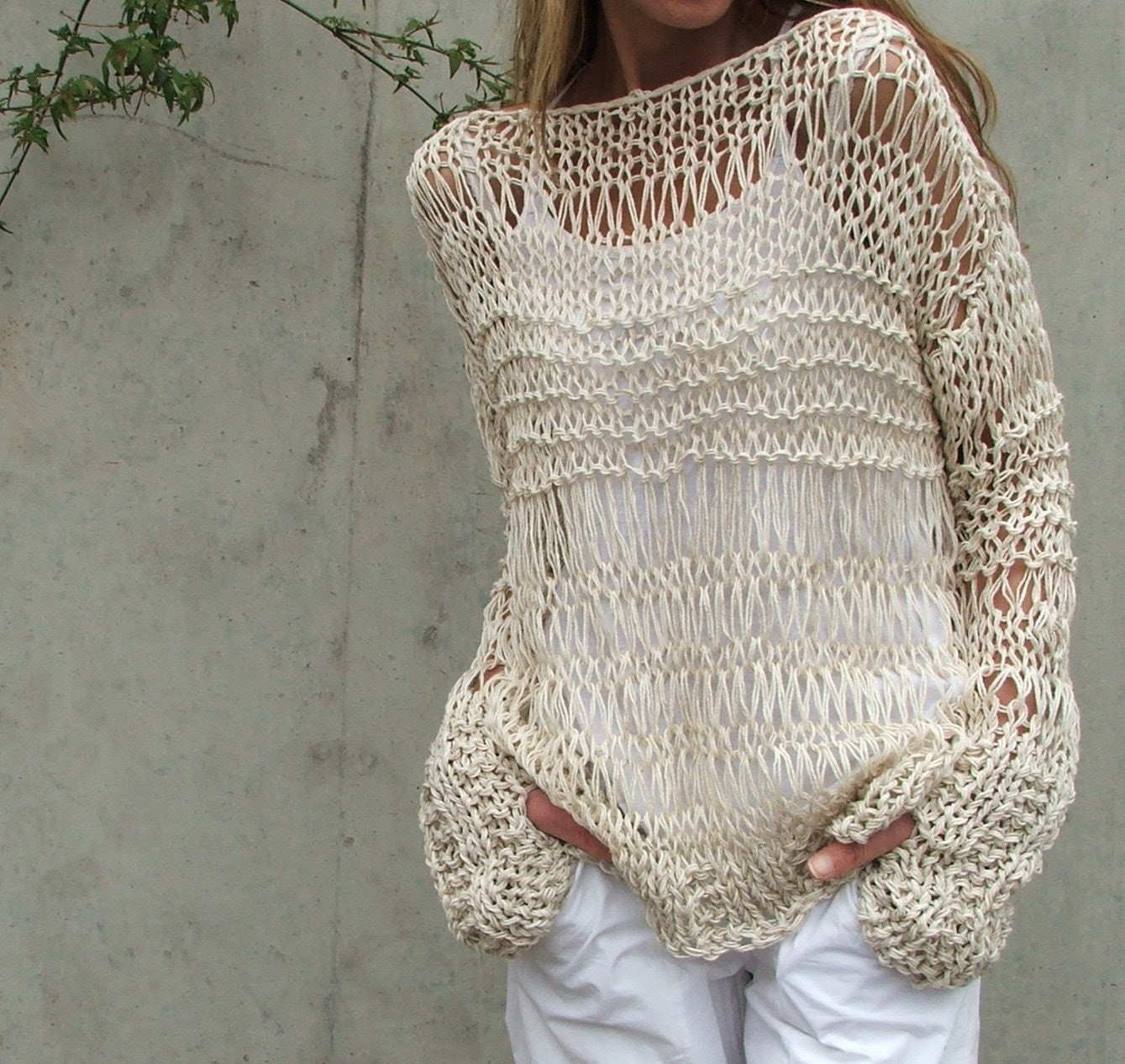 cream sweater cotton and linen summer grunge sweater iLE AiYE Exclusive range