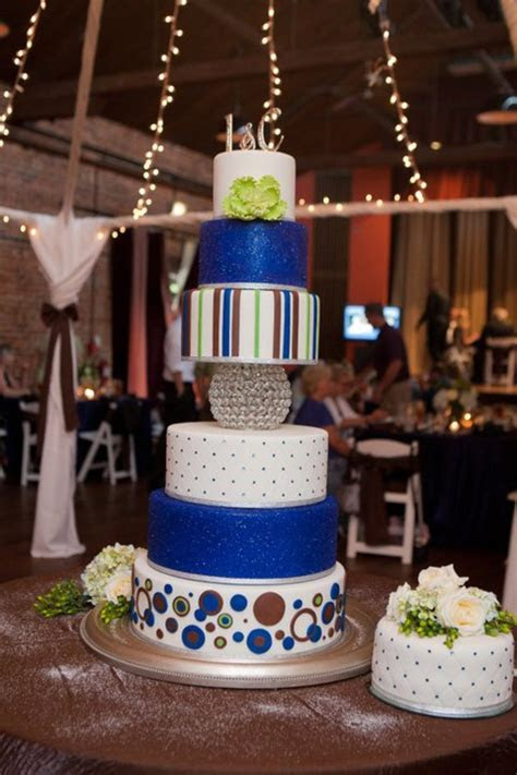 Apple Green And Royal Blue Wedding Cake   CakeCentral.com