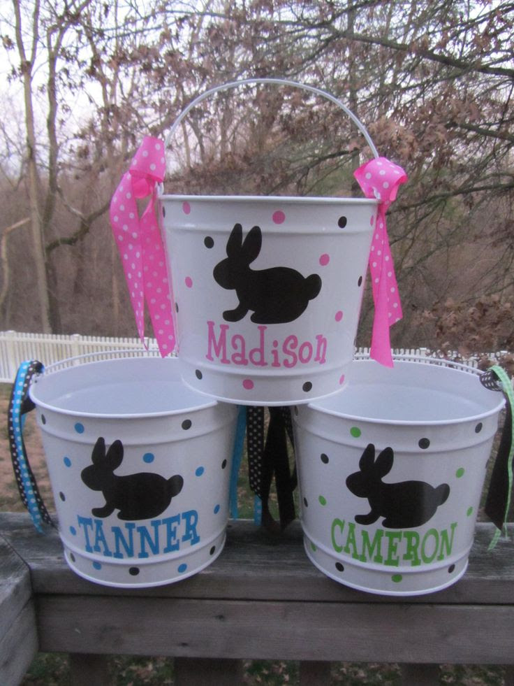 Personalized Easter Bucket, basket, pail - 10 quart size, bunny design.  Many colors and designs available. $28.00, via Etsy.