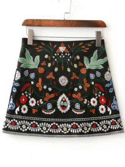 Falda mini bordada de flor - negro