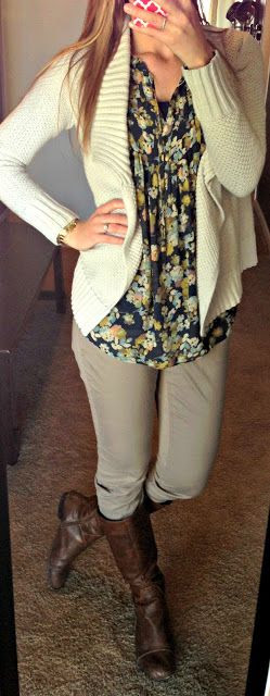 Sweater: Old Navy Shirt: LC Lauren Conrad for Kohls Pants: Express Boots: Cathy Jean#FallintoAutumn