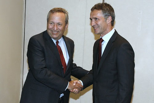 Stoltenberg with Lawrence Summers