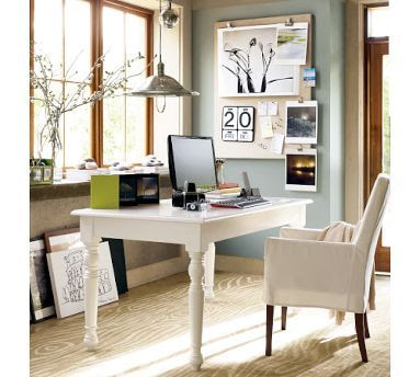 You could get this look by painting an old dining table and using it as a desk, and slipcovering a chair.