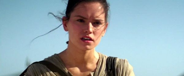 Rey is about to come to Finn's aid in STAR WARS: THE FORCE AWAKENS.