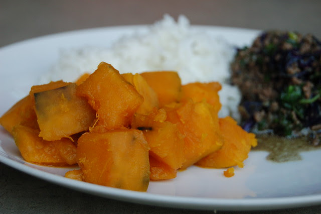 Dinner: Kabocha With Stir-Fry and Rice