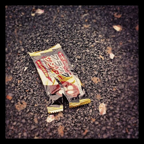 Seeing a Black Thunder wrapper on the ground amidst fallen cherry blossom petals. I felt a little comforted to know that other people eat Black Thunder too.