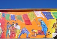 Un particolare del murales