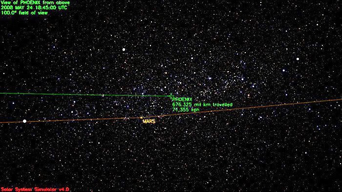 This image marks the path traveled by the Phoenix spacecraft as of 11:45 AM, Pacific Daylight Time, on May 24, 2008.  It has flown a distance of 420 million miles since launch...at a speed of 44,347 miles per hour.