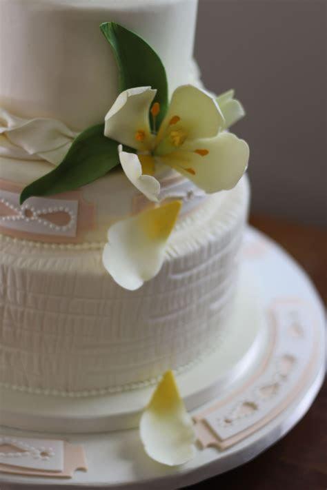 Textured Fondant Tulip Wedding Cake   CakeCentral.com