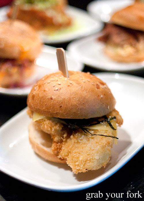 chicken katsu burger at The Norfolk Surry Hills