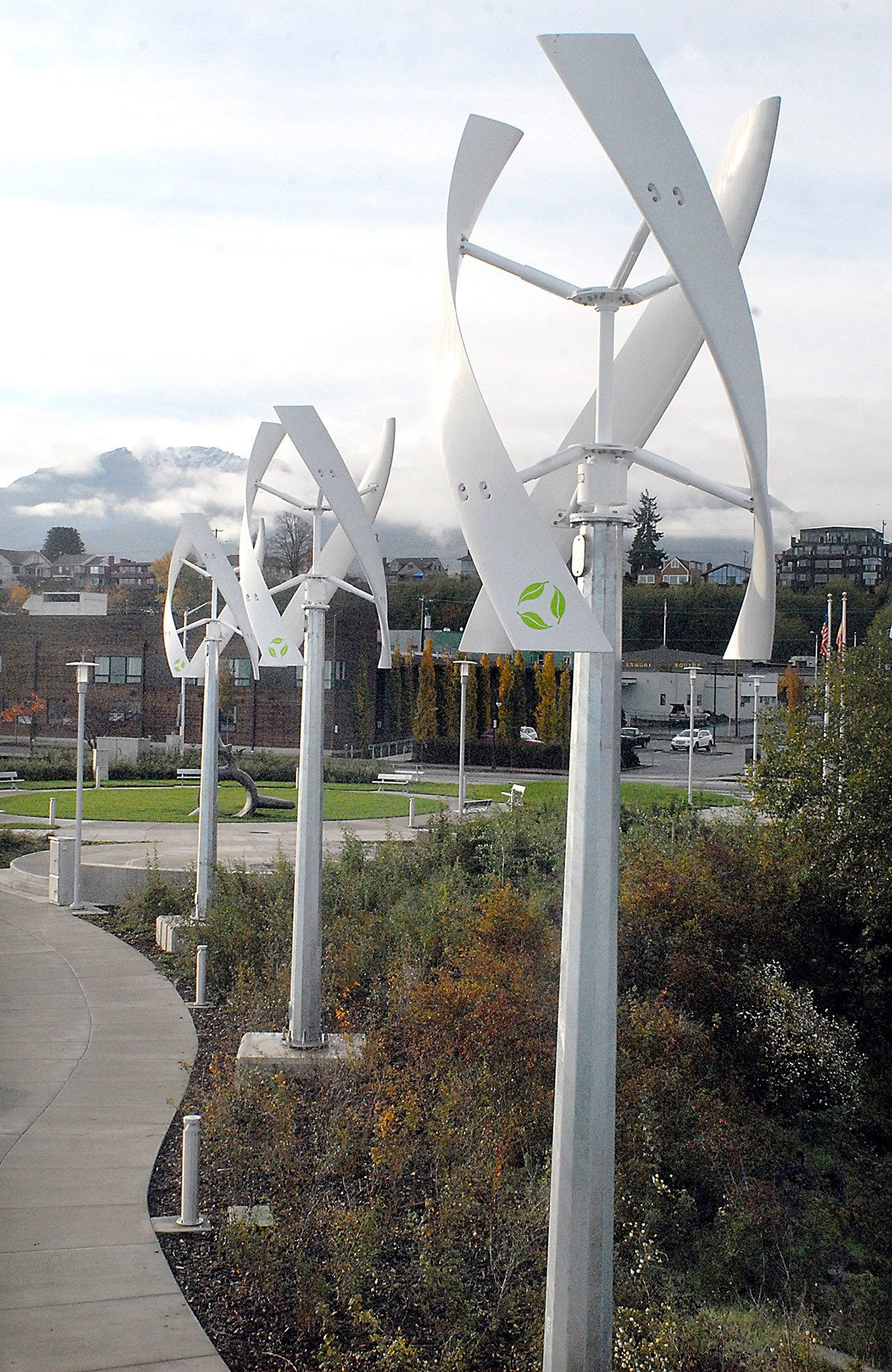 A series of wind turbines sit idle along the Valley Creek Estuary bordering the West End Park on the Port Angeles waterfront. (Keith Thorpe/Peninsula Daily News)