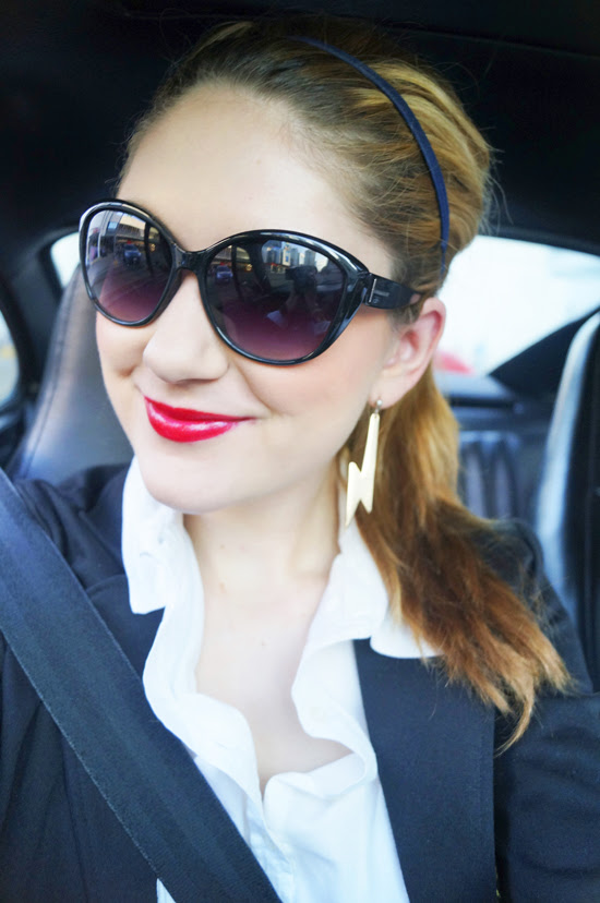 Sunglasses and Red lips