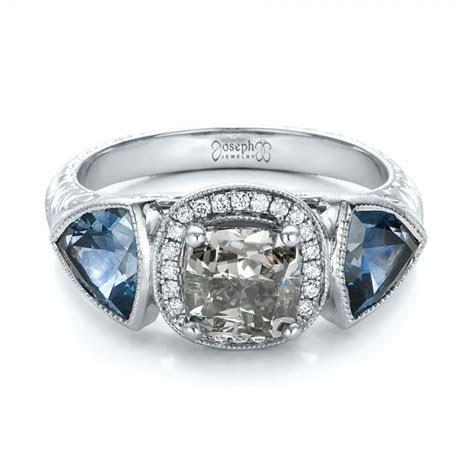 Custom Grey Diamond and Blue Sapphire Engagement Ring #102100